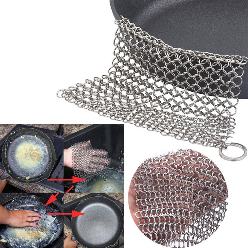 15*15CM Stainless Steel 316 Cast Iron Cleaner Scrubber Kitchen Rust remover Washing Pot Pan Scraper Brush Square Steel Mesh Pad