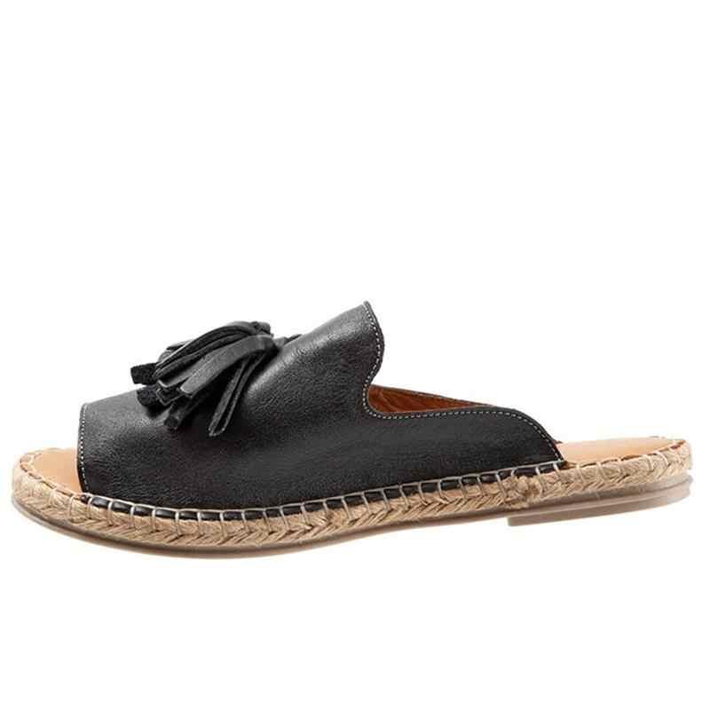 Женская летняя модная домашняя Уличная обувь пляжные шлепанцы удобные сандалии с кисточками Женские Повседневные слипоны