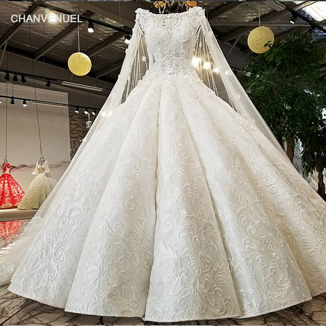 Ls02174 Cap Sleeves Wedding Dress Rhinestone Liques White Lace Latest Decent Ball Gown Dresses 2018