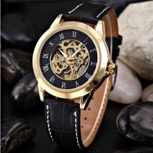 SHENHUA Men Watches Top Brand Luxury Gold Auotmatic Self-wind Mechanical Wrist Watches For Men Waterproof Skeleton Watches Men