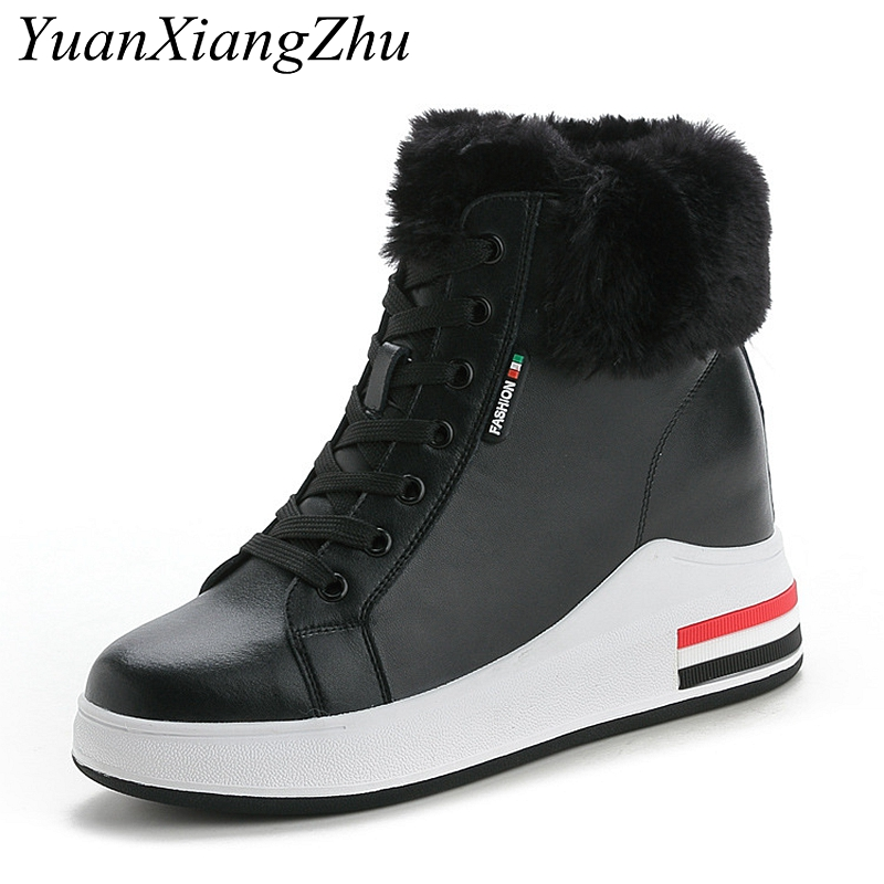 Fashion Platform Women Snow Boots Genuine Leather Waterproof Wedge Winter Warm Ankle Boots High-top Casual Sneakers For Female