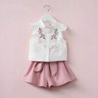 Oklady 2017 Summer Korean Baby Girls Clothing Set Children Heart Shirt Bow Shorts Suit 2pcs Kids