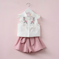 Oklady 2017 Summer Korean Baby Girls Clothing Set Children Heart Shirt Bow Shorts Suit 2pcs Kids