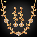 U7 conjunto de colar banhado a ouro rhinestone planta flor colar brincos set festa de jóias para as mulheres s567