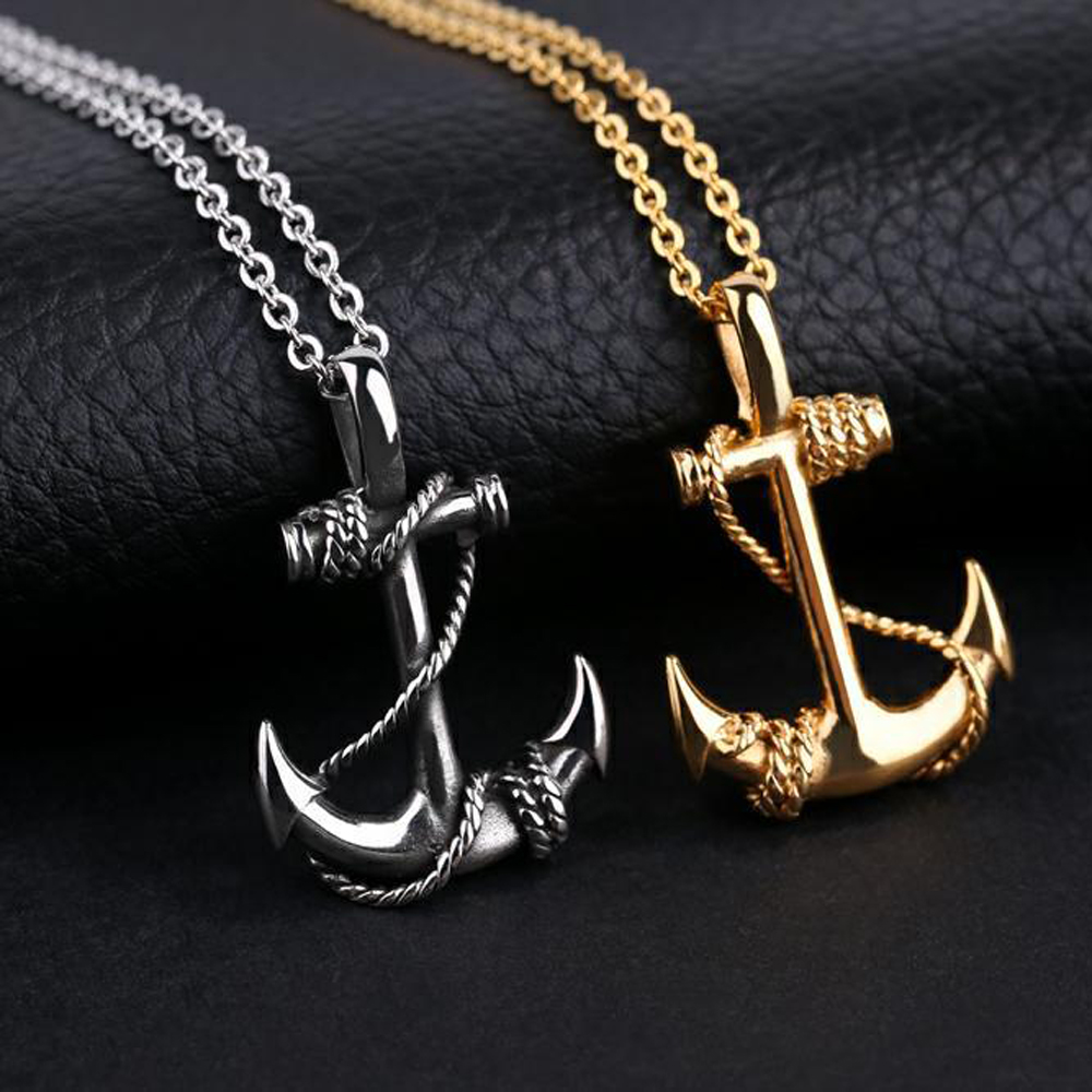 Vintage style punk anchor pendant necklace men titanium steel cross vintage style punk anchor pendant necklace men titanium steel cross necklace hip hop body jewelry necklace women men in chain necklaces from jewelry aloadofball Image collections