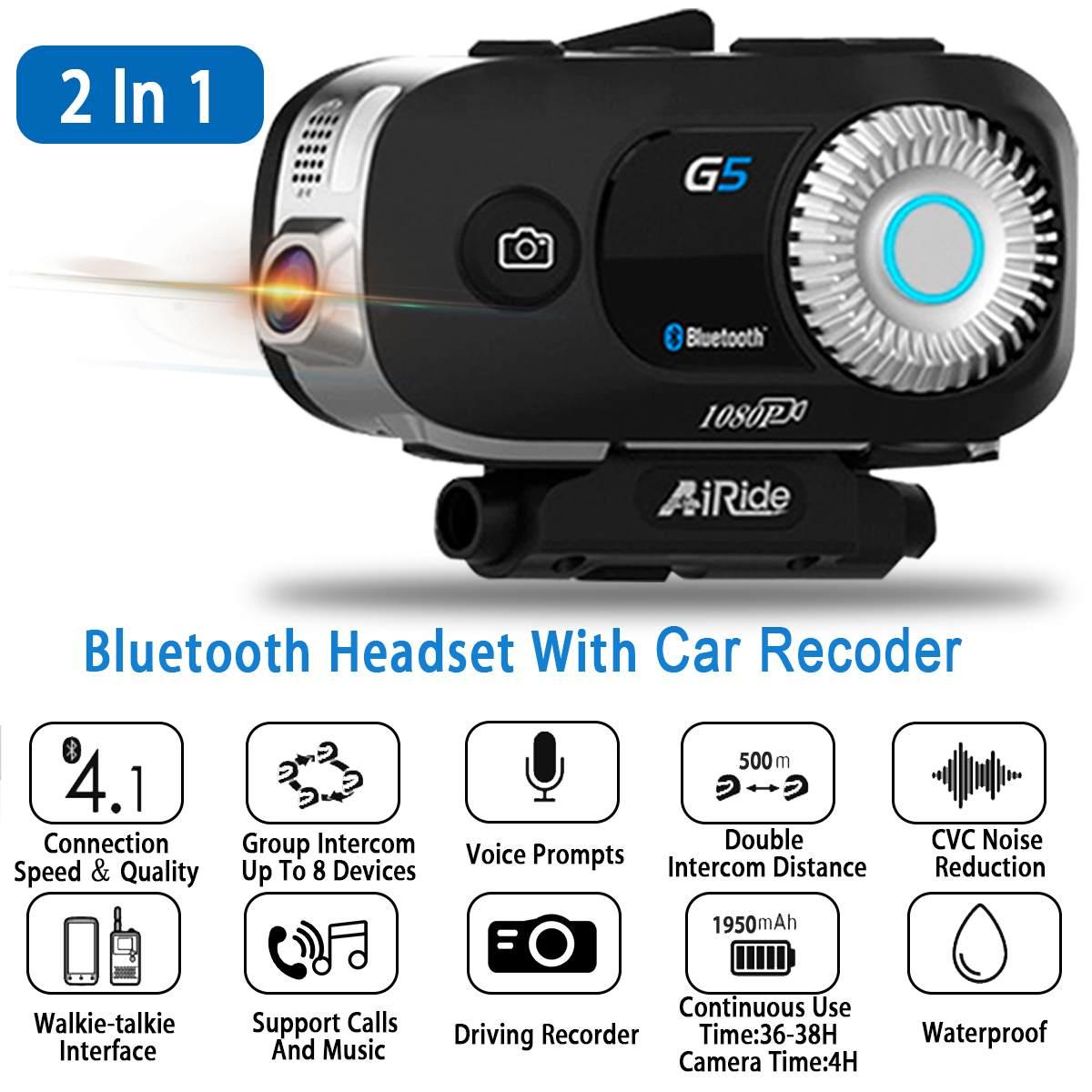 Étanche G5 3500 M bluetooth moto caméra casque casque interphone Communication pour 8 coureurs interphone avec casque