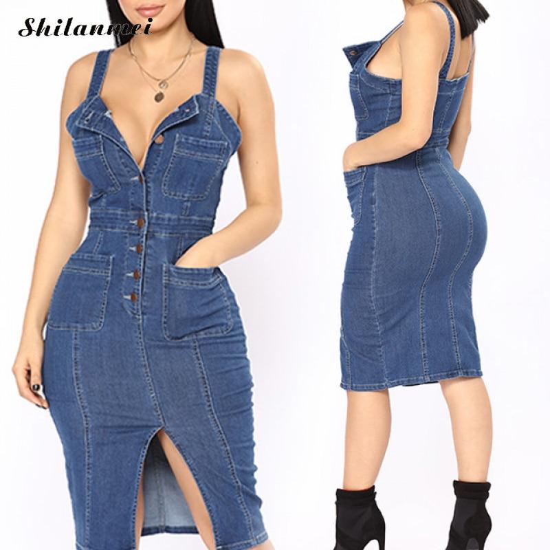 1edce75981 2019 New Stylish Cotton Women Denim Dresses Summer Backless Bodycon Midi  Dress Women Vestidos Party Dress
