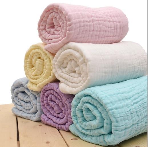 Newborn 100% Cotton Baby Blanket Infant Muslin Kids Soft Bath Shower Towel  Baby Gauze Swaddle Receiving Blankets 110cm*110cm