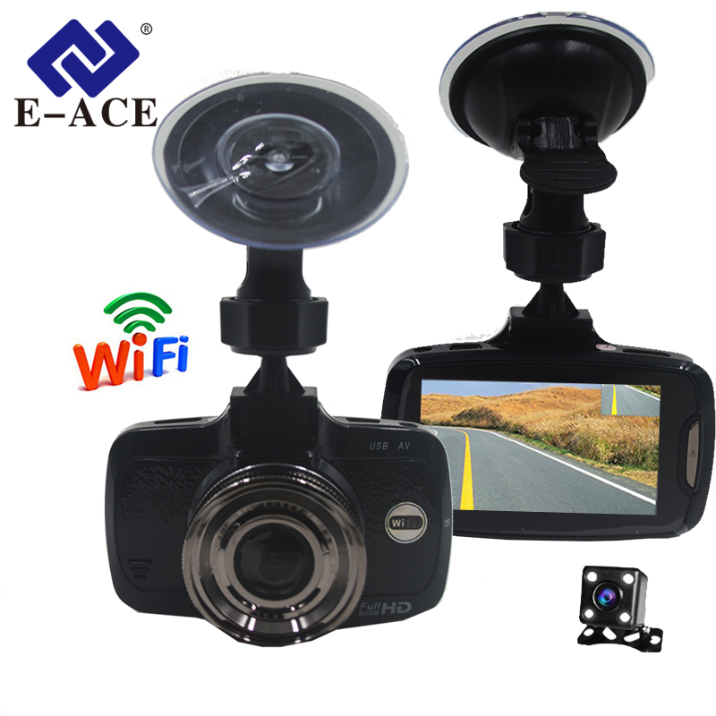 E-ACE Car Dvr 2.7 Inch Mini Wifi Dash Cam With Dual Camara Lens FHD 1080P Video Recorder Parking Monitor Auto Avtoregistrator