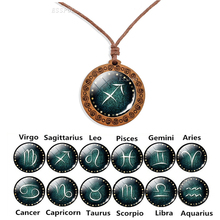 Zodiac Sign Rope Chain Necklace Wooden Pendant 12 Constellation Jewelry Men Women Couples Necklaces Romantic Gifts
