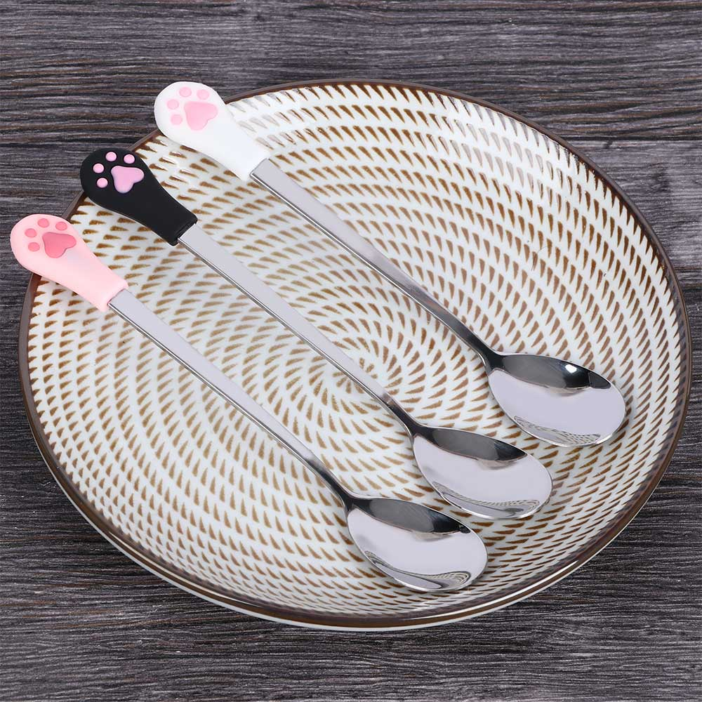 1 Pcs Stainless Steel Spoon Cute Cat Claw Coffee Spoons Fruit Dessert Spoon Candy Tea Spoon Tableware Kitchen Supplies