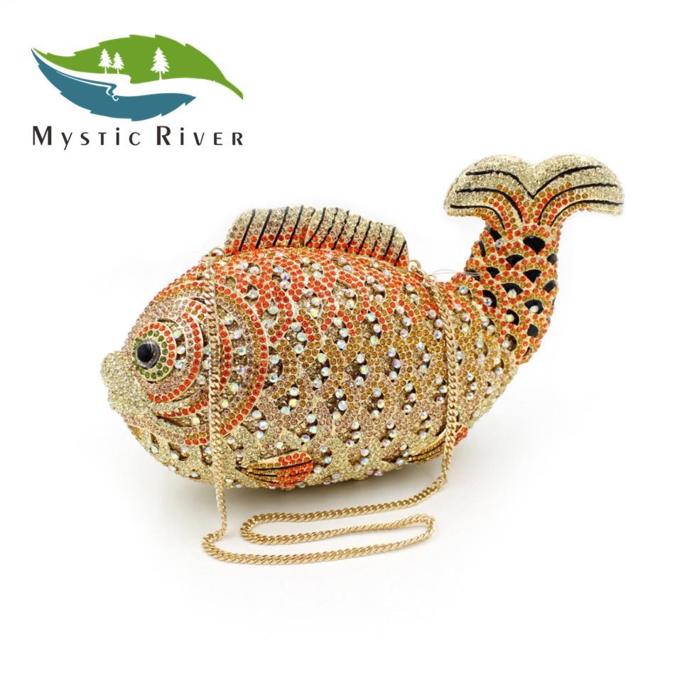 Mystic River Mujeres Goldfish Forma de Lujo Bolsos de Embrague de Cristal de Dou