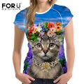 Forudesigns mujeres clothing tumblr naughty cat impresión mujeres camiseta harajuku verano divertido personalizar college girls short tees