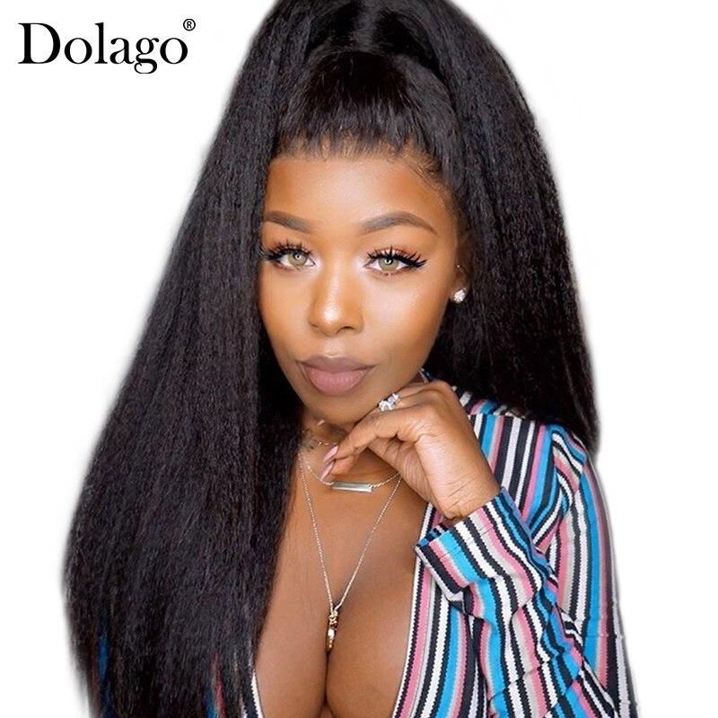 Kinky Straight Glueless Full Lace Wigs 250 Density Coarse Yaki Human Hair Wigs For Women Brazilian