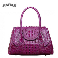 SUWERER 2018 New Superior cowhide women genuine leather bags crocodile pattern Embossed Fashion luxury leather tote bag цена