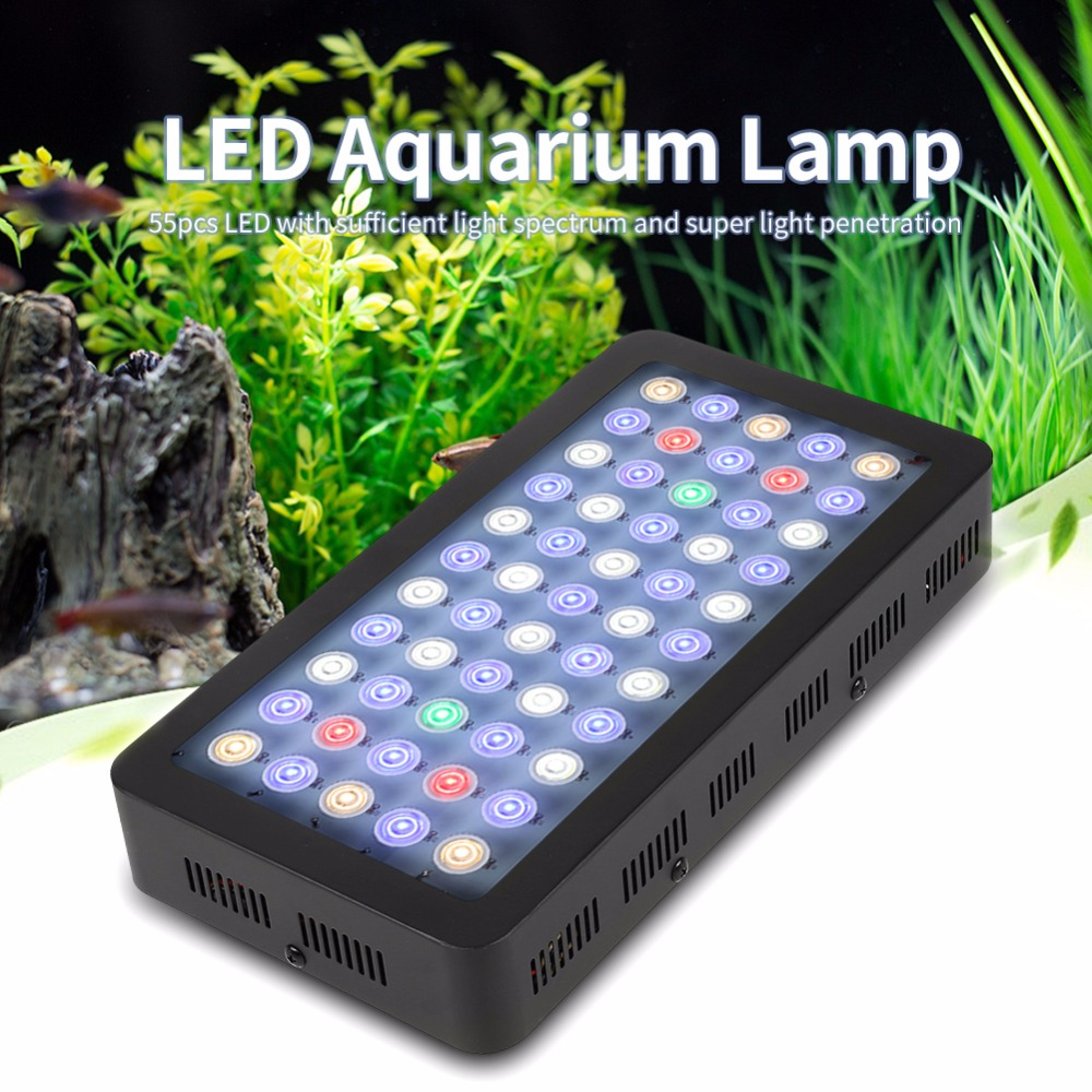 Фото 85-265V 165W LED Aquarium Grow Light Dimmable 55 LED Full Spectrum Grow Lamp For Water Plants EU Plug