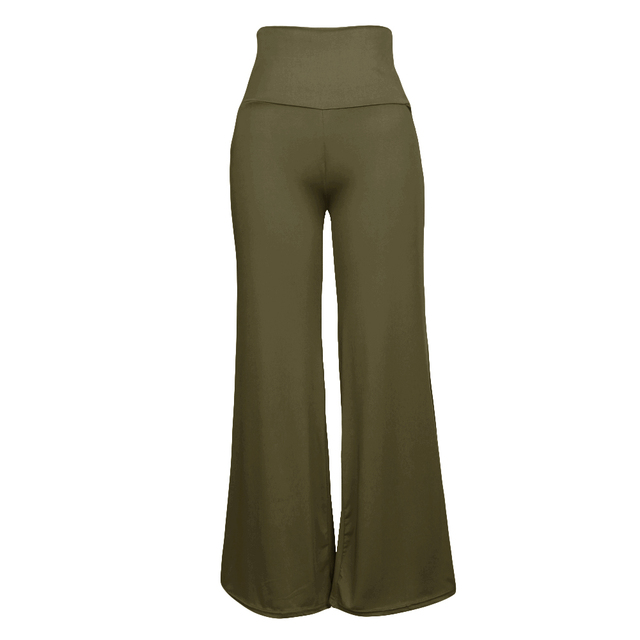 Casual Women High Waist Wide Leg Pants Side Zipper Solid Color Oversize Flare  Pants Long Loose dfa1f27bd8bd