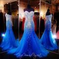 Azul royal mermaid longo prom dress pageant para mulheres sexy querida longo vestido frisado luxo vestidos de gala vestidos de tule