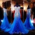 Royal blue mermaid largo prom dress para el espectáculo mujeres sexy vestido de novia longo tul vestidos de lujo con cuentas vestidos de gala