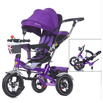 Free Shipping Swivel Seat Baby Tricycle Stroller Shockproof Removable Folding Baby Children Tricycle Bicycle Bike  Pram
