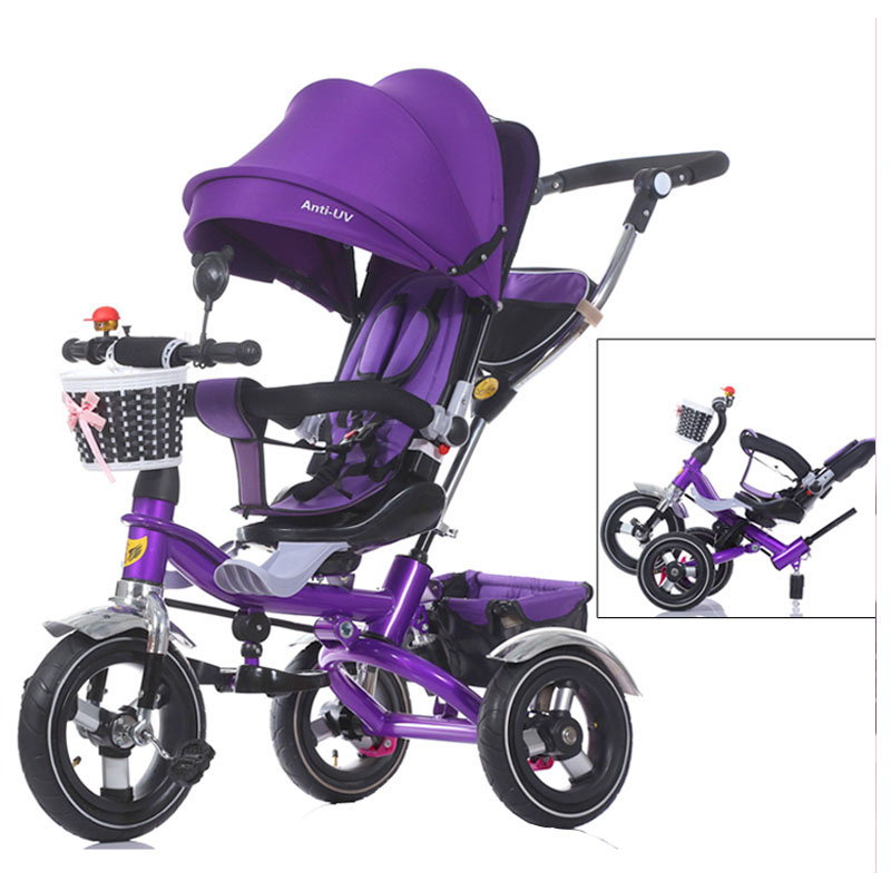 Quality Swivel Seat Baby Tricycle Stroller Shockproof Removable Folding Baby Children Tricycle Bicycle Bike Three Wheels Pram brand quality portable baby tricycle bike children tricycle stroller bicycle swivel baby carriage seat detachable umbrella pram