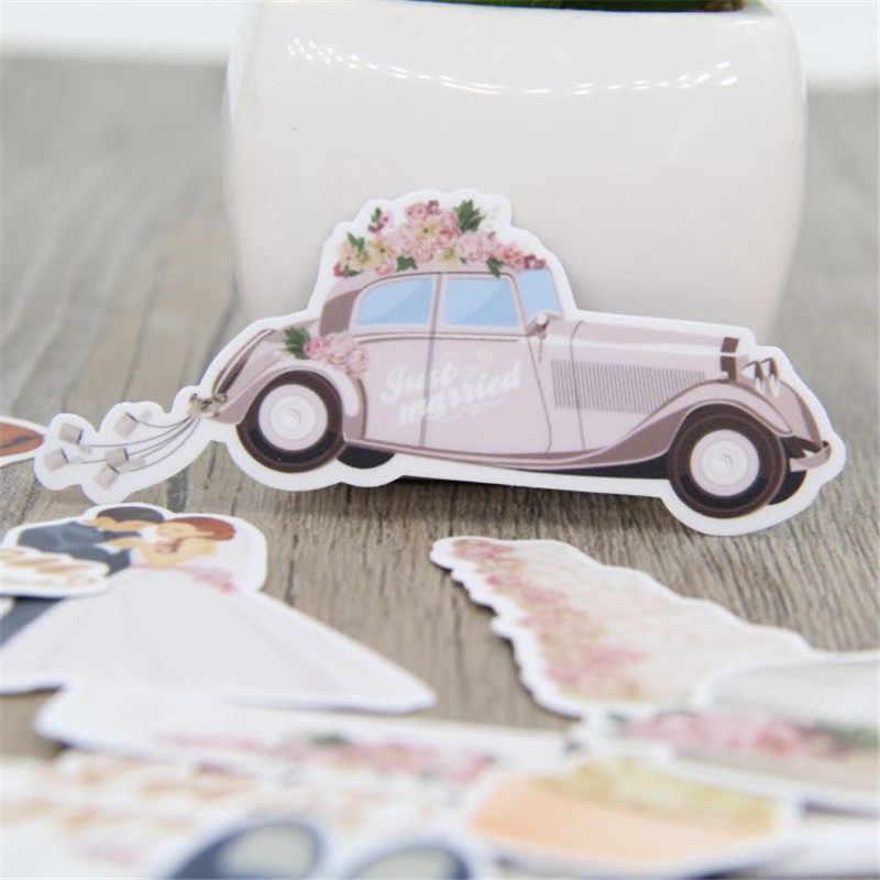28 Pcs Tema Pernikahan Tahan Air untuk Ponsel Mobil Label Dekoratif Alat Tulis Stiker Scrapbooking DIY Diary Album Mainan Stiker