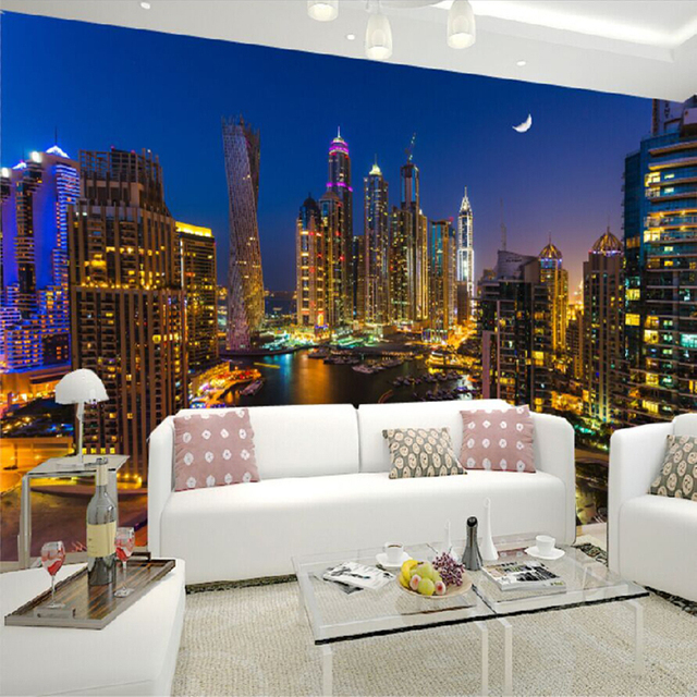 custom 3d photo wallpaper dubai city night view large wall painting
