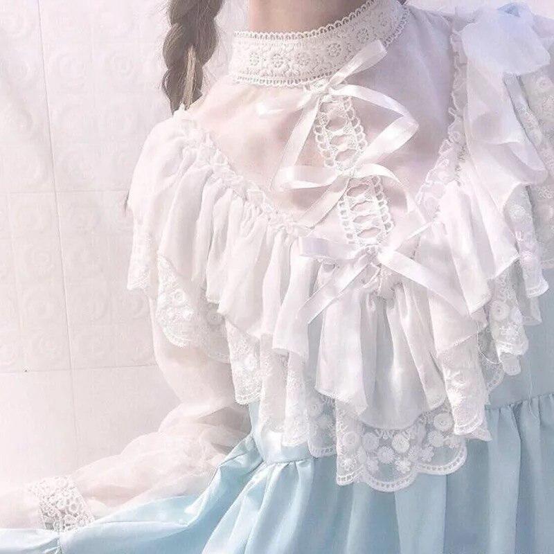 Couture Ruché Princesse ligne Mince Douce Col Mousseline Lolita Dame Fille Roulé Et Bleu As Satin A Soie De Pour Blanc Robe Taille Shown Dentelle 0kOwXNnP8Z