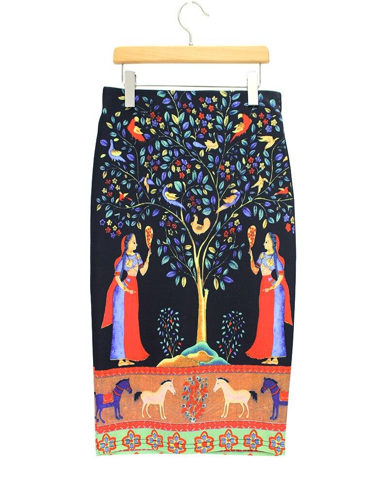 2015 Elastische Taille Große Größe Röcke Frauen Neue Design Lycra Digitaldruck Dame Sommer Stil Neue Jupe Kurze Feminino