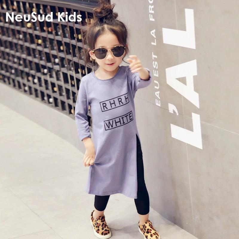 2018 Őszi lányok pamut ing Gyermek divat betűk ing hosszú stílus - Gyermekruházat