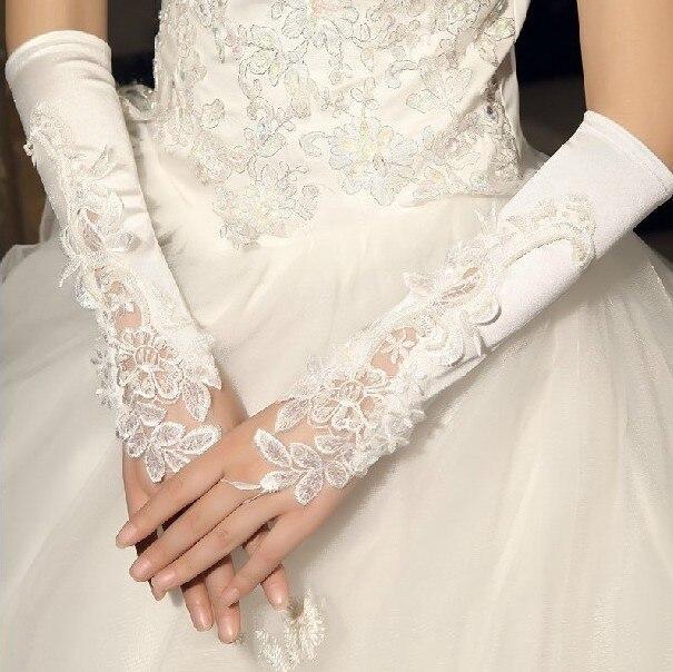 flores bordadas guantes nupciales fingerless guantes de encaje