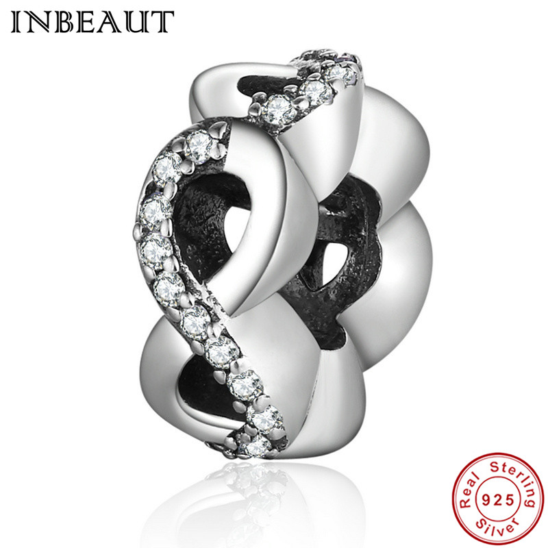 INBEAUT 925 Sterling Silver Infinite Pendant for Women Wedding Necklace Chain Beads fit Pandora Charm Bracelet Female Jewelry