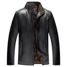 Nowy przyjeżdża męskie skórzane kurtki męskie płaszcze marki wysokiej jakości PU Outerwear męskie skórzane kurtki Faux futro męskie kurtki skórzane tanie tanio CARSONYEUNG Grube Faux leather Suknem Skóra i zamszowe NONE Poliester bawełna APU7 Stałe REGULAR Szeroki zwężone MANDARIN COLLAR