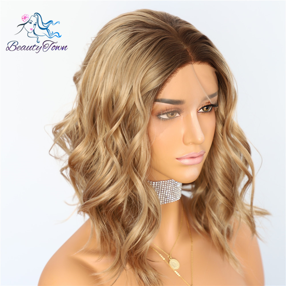 Image 2 - BeautyTown Dark Root Ombre Brown Short Heat Resistant Hair Blogger Daily Makeup Glueless Synthetic Lace Front Wedding Party Wigs-in Synthetic Lace Wigs from Hair Extensions & Wigs