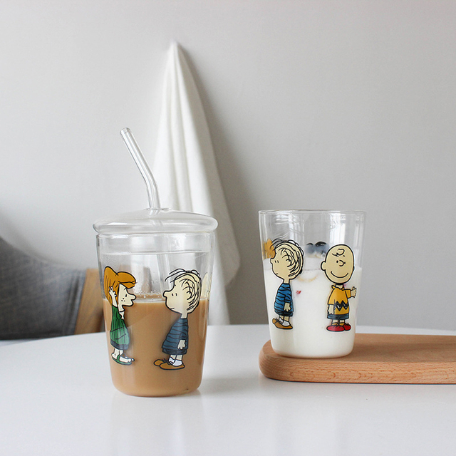 Cute Cartoon Glass Transparent Water Bottle With Straw 2