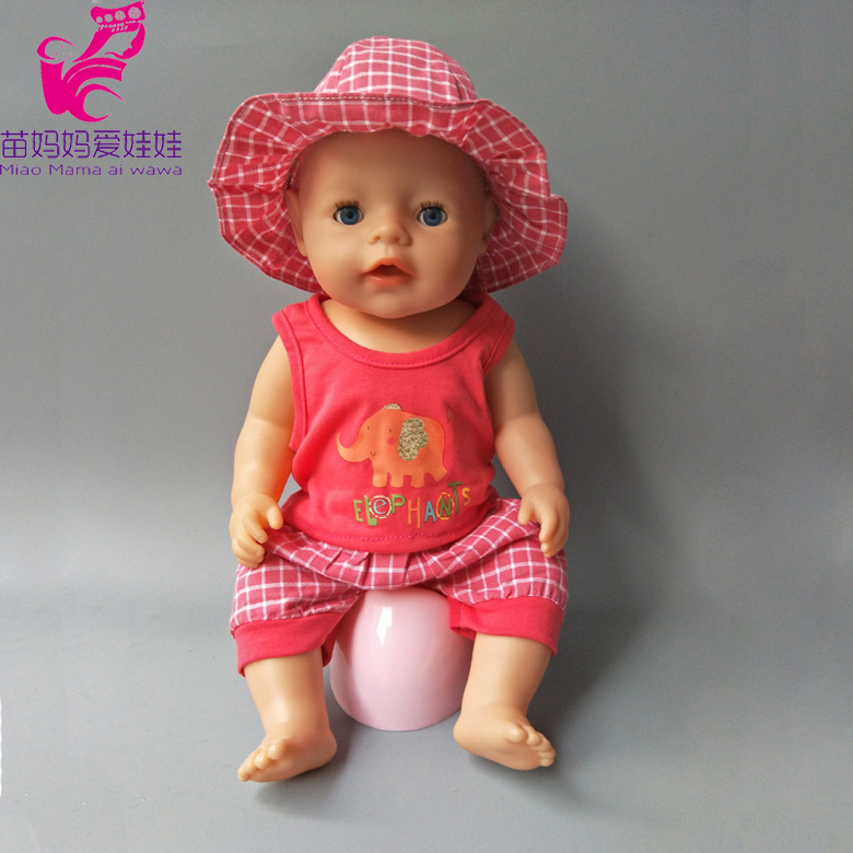 Gift Cute Summer Red Vest Shirt Pants with Cap Clothes set for 18 inch girl doll Outwear sets for baby born zapf dolls