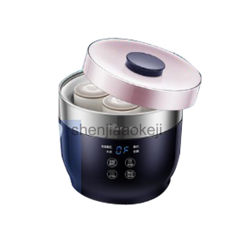SNJ-C10T1 Home Fully Automatic Yogurt Maker 4 Ceramic Yogurt Cup Rice Wine Cheese Greece Yogurt Machine 220v20w1pc natto yogurt makers household fully automatic yogurt machine with glass liner timing rice wine machine 4 sub cup green