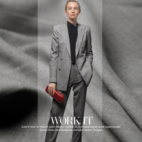 155cm Wide 380g M Weight Light Grey Color Twill Worsted Wool Materials Autumn Business Suit DIY