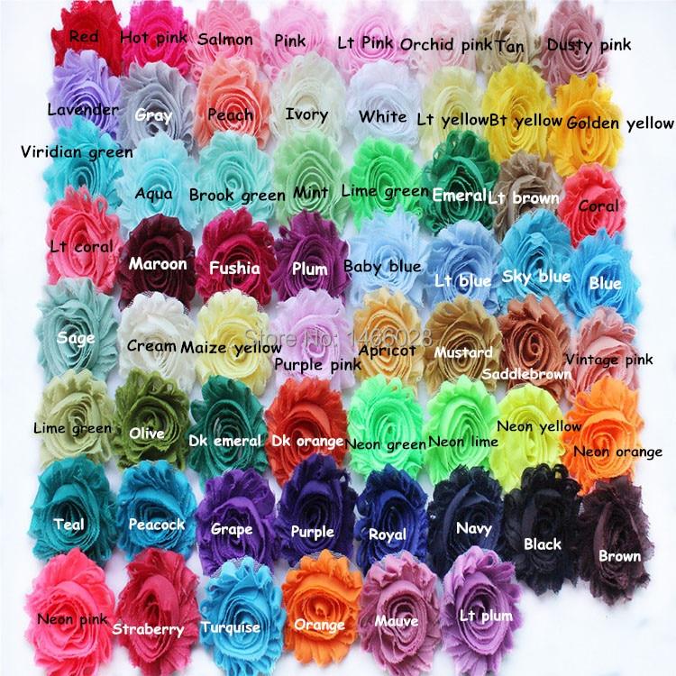 ePacket 60 yards lot 2 5inch chiffon shabby flowers chiffon flowers 108 colors for choose