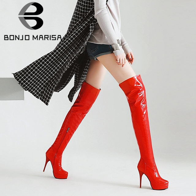 60024a4c2 BONJOMARISA Women Brand Plus Size 32-48 Patent Pu Women Over The Knee Thigh  High Boots Women Winter High Heels Party Shoes Woman