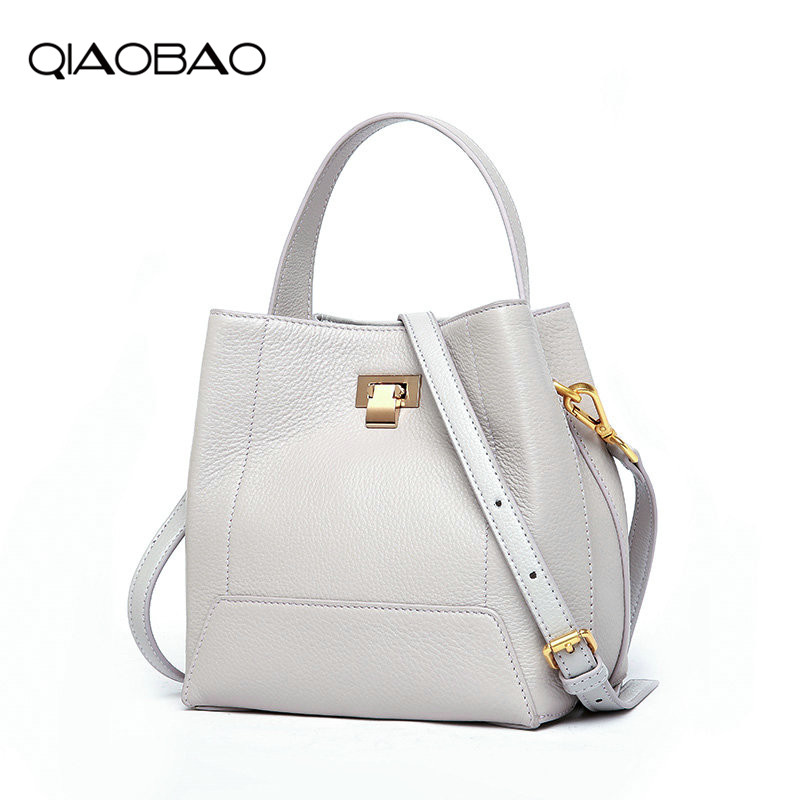QIAOBAO Women Real Leather Handbags Fashion Bucket Shoulder Bags Ladies Cross Body Bags Large Capacity Ladies Shopping Bag Bolsa
