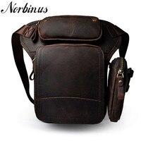 Norbinus Men's Waist Fanny Packs Genuine Leather Drop Leg Bag Cowhide Shoulder Bags Crossbody Bags for Men Hip Belt Phone Pouch