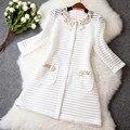 Высокое Качество Полые Женщин Верхняя Одежда Пальто 2016 Весенняя Мода Цветок Дамы Длинные Основные Куртки