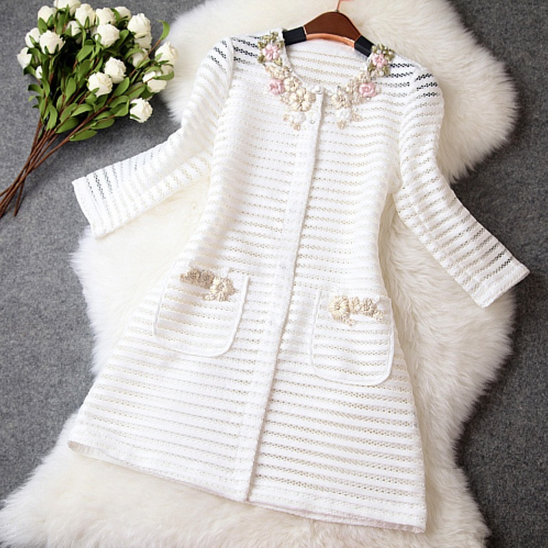 Women Coat High Quality Hollow Women Outerwear Coats 2019 Spring Fashion Flower Ladies Long   Basic     Jackets   TR077