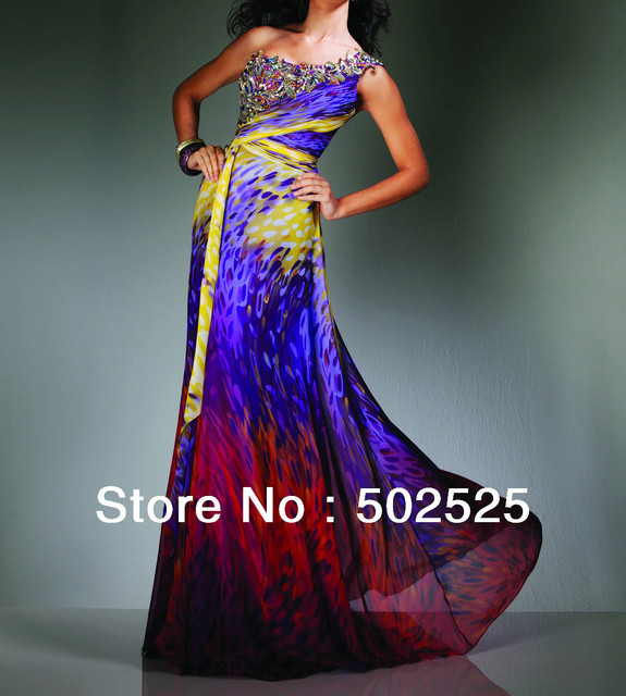 Real Photos Printed Fabirc Crystal Handwork With Embroider Elegance Rhinestone Evening Gowns OL102252