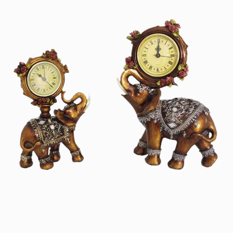 Vintage Asian Resin Elephant Antique Clock Battery Trunk Auspicious Elegant Creative Home Desktops Decor Furnishing Articles