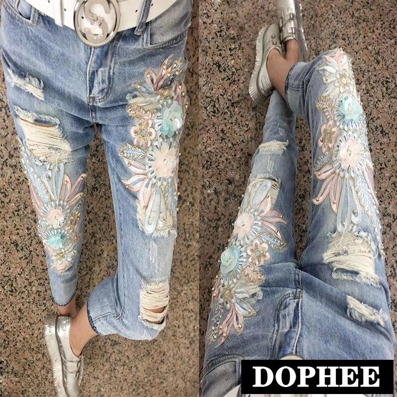 2019 été Denim pantalon femmes mode taille haute perlé brodé Foral Skinny cheville longueur Jeans pour les filles