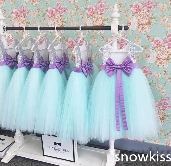 2017 beautiful mint green princess birthday dress O-neck floor length baby dress with silver sequined flower rocks purple bow beautiful darkness