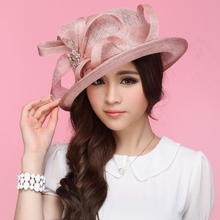 2017 Women Dress Sinamay Derby Church Wedding Cocktail Evening Party Vintage Sun Cap French Style Fedora