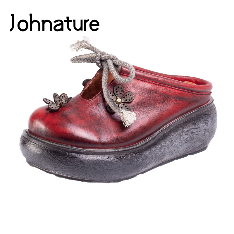 Johnature 2019 Spring Summer New Genuine Leather Casual Retro Fashion Round Toe Flower Sewing Wedges Sandals